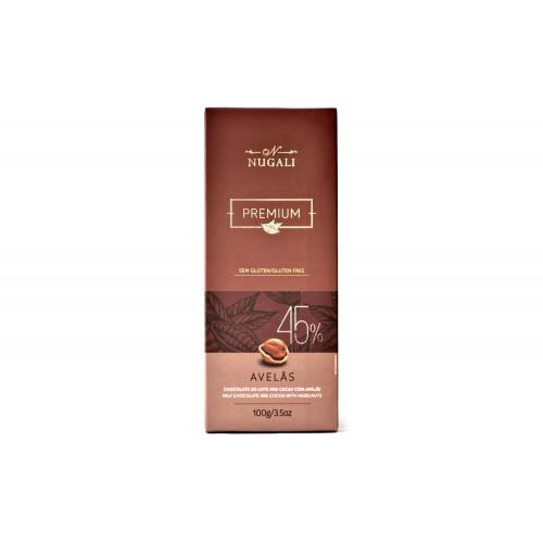 Chocolate ao Leite 45% Cacau com Avelas Nugali 100g