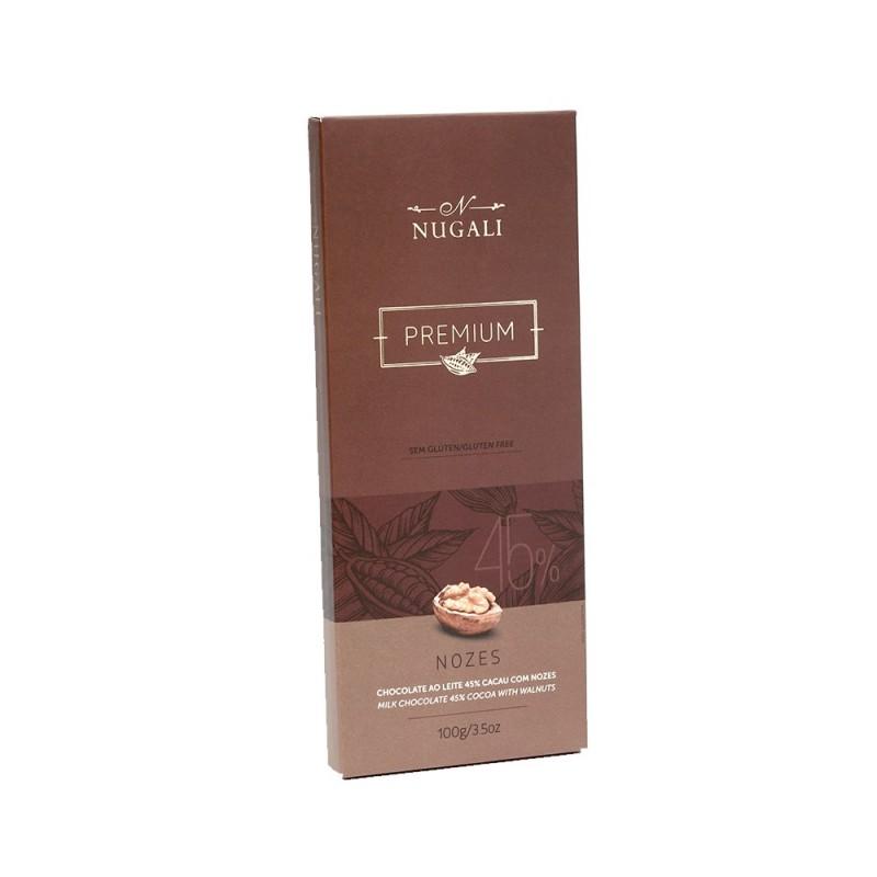 Chocolate ao Leite 45% Cacau com Nozes Nugali 100g