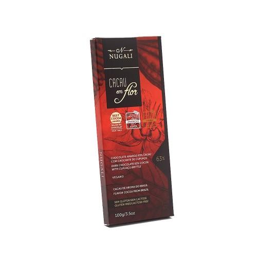 Chocolate Amargo 63% Cacau em Flor Cupuaçu Nugali 100g