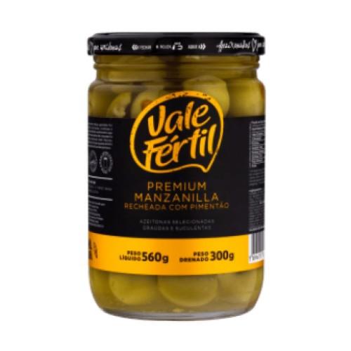 Azeitona Verde Premium Manzanilla Recheada com Pimentão Vale Fértil 300g