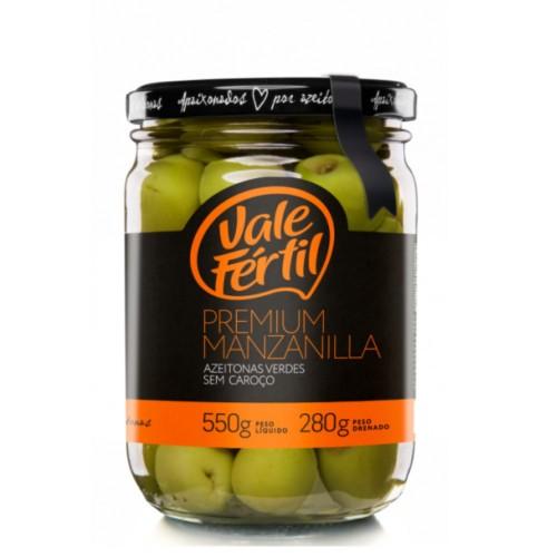 Azeitona Verde Premium Manzanilla sem Caroço Vale Fértil 280g